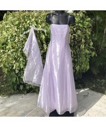 Fiesta Formal Dress Womens M Lavender Sleeveless Sash Spaghetti Strap Go... - $44.52