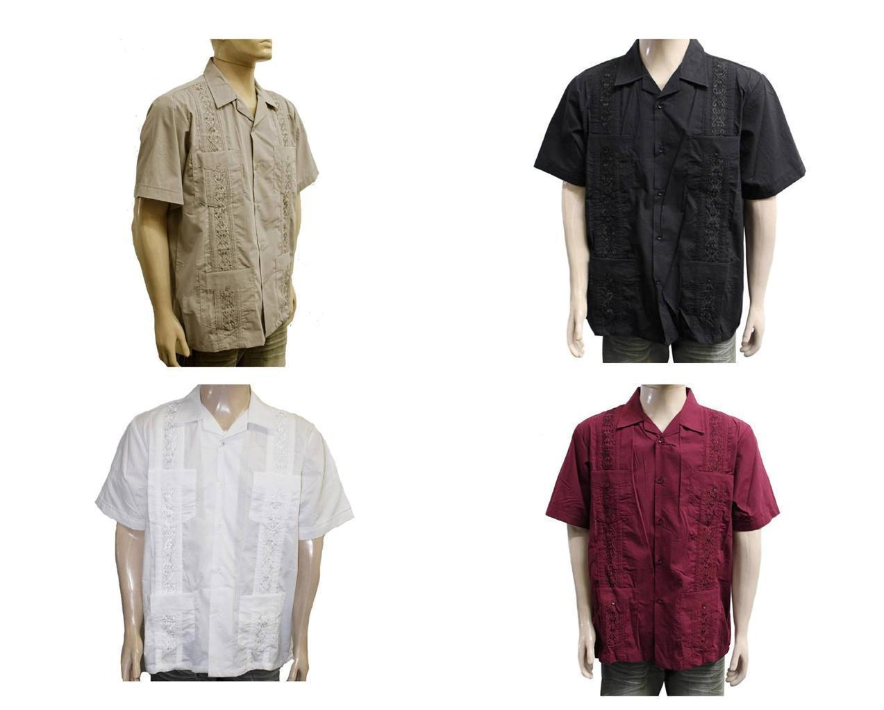 NEW LOT OF 4 WESTLINE MEN'S GUAYABERA CUBAN WEDDING BUTTON UP DRESS SHIRT