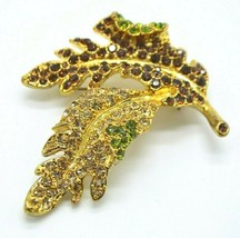 KENNETH JAY LANE Signed KJL Avon Rhinestone Encrusted LEAF Brooch Pin - $29.69
