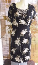 Floral Another Thyme Short Sleeve Dress Size 14 Black Tan Roses 2 layers... - $13.99