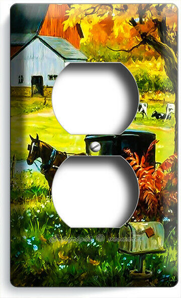 AMISH COUNTRY FARM BARN COWS HORSE CARRIAGE MAIL BOX OUTLET PLATE ROOM ART DECOR