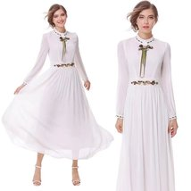 Autumn and winter new retro long-sleeved heavy-duty embroidery Slim dress - $42.00