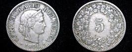 1906 Swiss 5 Rappen World Coin - Switzerland - $5.99