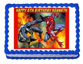 Spiderman and Venom Edible Cake Image Cake Topper - $8.98+