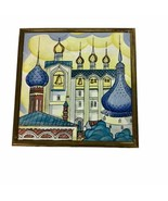 """Russian Church Blue Spires Bell Towers 6"""" Square Ceramic Trivet Tile Decoration - $21.49"""