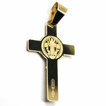 SOLID 18K YELLOW GOLD FLAT CROSS WITH JESUS & SAINT BENEDICT MEDAL, 24 mm image 1