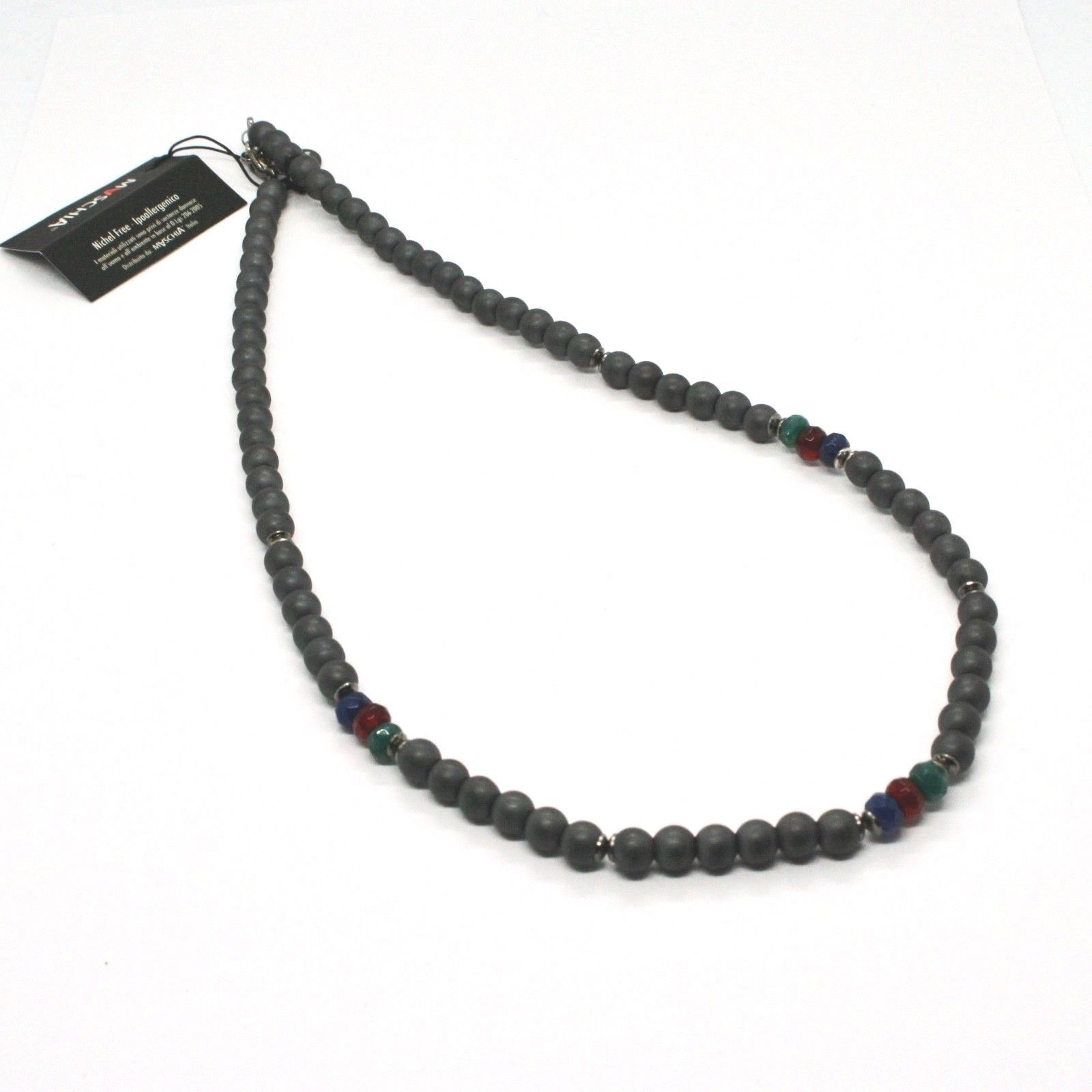 COLLANA IN ARGENTO 925 BRUNITO CON EMATITE E AGATA MADE IN ITALY BY MASCHIA