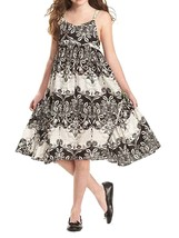 Bonnie Jean Little Girl 4-6X Black White Floral Print Side Flounce Dress