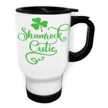 Shamrock cutie White/Steel Travel 14oz Mug bb804t - $17.93