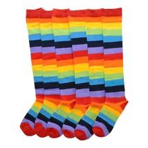 Angelina 12 Pair Dozen Girls Kids Toddler Knee High Socks Rainbow Striped 2540