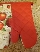 """Oven Mitts, Set of 2, Red Apple Blossom design, Large 13"""", Cotton Kitchen Linens image 3"""