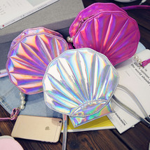 Holographic Seashell Shape Bag Funny Laser Women Shell Bag Silver Hologr... - $24.56 CAD