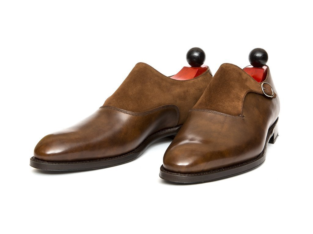 Men Monk Strap Shoes, Handmade Single Strap Leather Suede Formal Tuxedo wedding