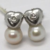 Ohrringe aus Gold Weiß 750 18K, Perlen Weiß 7 mm, Diamanten, Hearts, Herz image 1