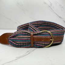 Eddie Bauer Vintage Wide Colorful Leather Trim Belt Size XL 32 34 - $23.26