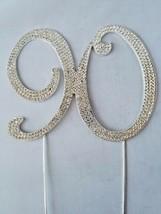 # 90 Rhinestone Crystal Cake Topper Silver Number Wedding Birthday Anniv... - $6.45