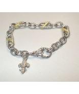 Judith Ripka Fleur De Lys Charm Link Sterling Silver Chain Bracelet 14K ... - $56.09