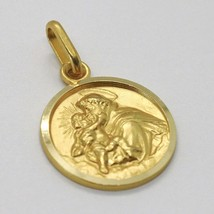 18K YELLOW GOLD ST SAINT ANTHONY PADUA SANT ANTONIO MEDAL MADE IN ITALY, 13 MM image 2