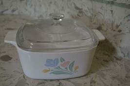 Corning Ware Casserole  A-1.5B  &  Lid Vintage Friendship Floral Tulip p... - $12.56
