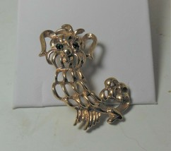 Vintage Avon Gold Tone Poodle Pin Brooch Green Rhinestone Eyes - $17.81