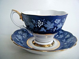 Royal Albert Bone China Tea Cup & Saucer Chateau Series Dijon Royal Blue... - $29.65