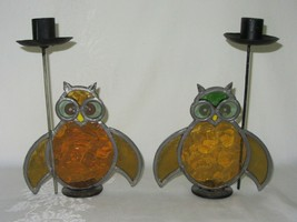 Pair Vtg Stained Leaded Glass Owl Bird Candlestick Candle Holders Rustic... - $39.59
