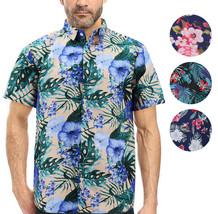 Men's Tropical Hawaiian Luau Aloha Casual Revere Beach Button Up Dress Shirt