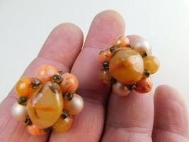 Vintage Hong Kong Blue Chunky Cluster Bead Clip On Earrings - $13.85