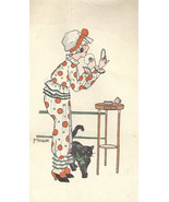 1920'S FRENCH ILLUSTRATOR M VANASEX -WOMAN- POLKADOTS CAT- MIRROR-LOOKS ... - $34.99