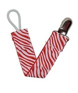 Red Zebra Ribbon Pacifier Clip - $6.50
