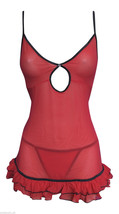 Ladies Sexy Red & Black Baby Doll and Matching Thong Set all Sizes, Xmas - $7.97