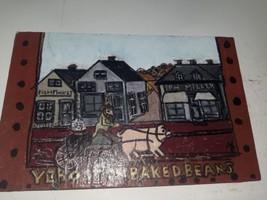 "Vintage Boston "" Boston baked beans"" hand-painted stone tile 8 3/4"" x 5-... - $9.90"