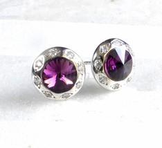 femmes Dame Boucles d'oreilles plaqué or blanc Swarovski elemet cristal mauve - $14.98