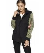 ALPHA INDUSTRIES Women's Fusion Field Coat Black / Green Size M - $118.79