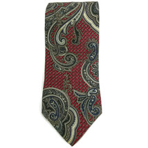Zylos George Machado Mens Necktie Silk Paisley Red Blue White - $7.09