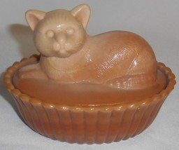 Westmoreland CHOCOLATE SLAG GLASS Cat COVERED DISH - $39.59