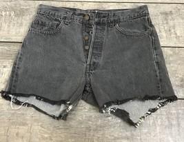 VTG Levi's 501 Jeans Cutoff Shorts Black Faded Raw Hem Waist 30 - $19.80