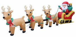 Inflatable Santa Claus With 3 Reindeer Lighted Christmas Tree Yard Decor... - $207.99