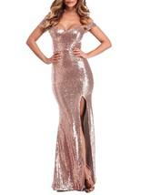 Off Shoulder Sequins Prom Dress Long Mermaid Gown High Side Slit Evening... - $99.99