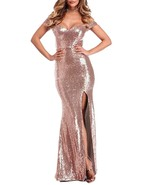 Off Shoulder Sequins Prom Dress Long Mermaid Gown High Side Slit Evening... - $99.99