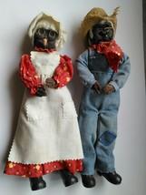 Wire Folkart African American Black Grandma Grandpa Handmade Doll Set OOAK - $75.99