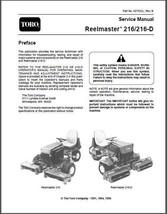 TORO Reelmaster 216 / 216-D Riding Mower Repair Service Workshop Manual CD - $12.00