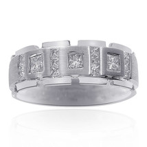0.85 Carat Diamond Mens Wedding Band 14k White Gold - $1,443.42