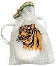 36 Tiger Embroidered White Organza Semi Sheer Drawstring Wedding Favour ... - $93.99