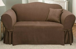 SureFit Sofa SlipCover Stretch Soft Suede Chocolate 1 Piece Sofa Relax F... - $69.29
