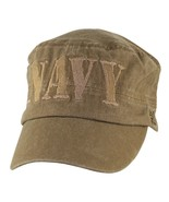 NAVY BLOCK LETTERS FLAT TOP COYOTE BROWN WASHED EMBROIDERED HAT CAP - $31.58