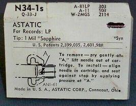 PHONOGRAPH NEEDLE Astatic N34-1s for Astatic Q-33 J M X Astatic CAC LQD 46 48  image 3