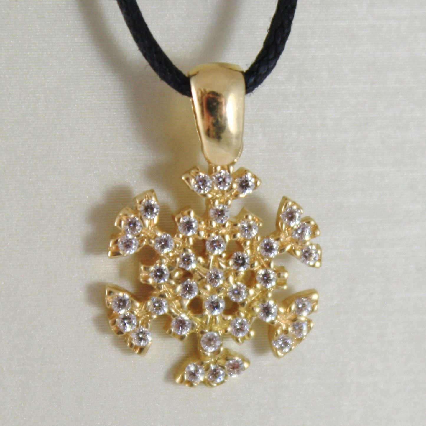 YELLOW GOLD PENDANT 750 18K, SNOWFLAKE, LONG 2 CM ZIRCON MADE IN ITALY