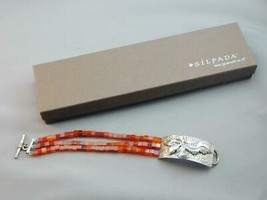 Silpada Designs 3 Strand Carnelian Sterling Flower Toggle Bracelet NIB B... - $185.00