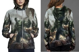 hulk in war image Hoodie Zipper Women's - $48.99+